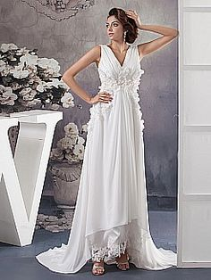 Flower Detailed Sleeveless V Neck Chiffon Wedding Dress - USD $189.00