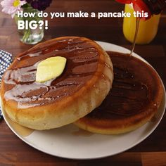 One small step for man, one giant pancake for mankind. Get the recipe at Delish.com. #delish #easy #recipe #instantpot #giant #fluffy #pancake #homemade #fromscratch #breakfast #brunch