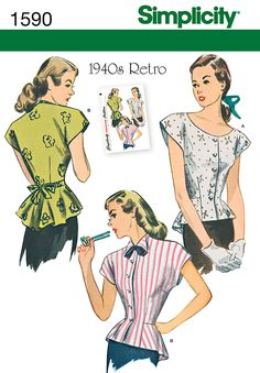 1590 Misses' 1940's Retro Blouse Misses' Retro 1940's top has either a scoop or high neckline with collar & bow. This vintage top buttons down the front and has a flattering peplum and optional ties at the waistline. Simplicity sewing pattern.