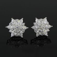 1.95ct VVS Marquise & Round Cut Diamond 14k White Gold Flower Stud Earrings 258G #Affinityjewelry #Stud