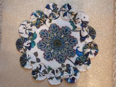 Peacock Flower in Shades of Blue III Yo Yo Doily by SursyShop, $8.00