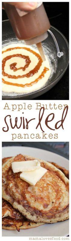 Apple Butter Swirled Pancakes.