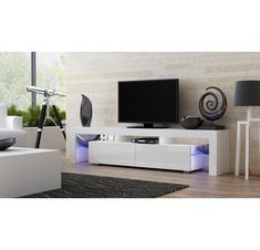 Concept Muebles TV Stand Milano 200 / Modern LED TV Cabinet/Living Room Furniture/Tv Cabinet fit for up to TV Screens/High Capacity Tv Console for Modern Living Room (White & Violet) Tv Stand Wayfair, Contemporary Tv Stands, Modern Contemporary, Tv Stand Set, Modern White Living Room, Floating Tv Stand, White Tv, Black White, Bedroom Decor