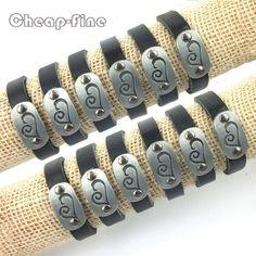 Hot!Wholesale12pcs Black Genuine Leather  Love Choi Wan Patterns Charm Bracelets #cheapfine #Bangle