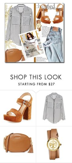 """""""Caramel ! (casual)"""" by emapolyvore ❤ liked on Polyvore featuring Gianvito Rossi, MICHAEL Michael Kors, Tory Burch, stripes, jeans, casualoutfit and brown"""