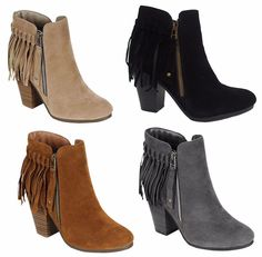 Womens Suede Fringe Almond Toe Booties Zipper Chunky Heel Ankle Boots