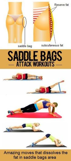 Saddlebags are those pesky flaps of fat that settle on your outer thighs and hips. You hate the way they make you look, but they just won't go away. You can't spot reduce your saddlebags, but combining cardiovascular exercise with strength training is a healthy way to trim the fat and tone your muscles. The best moves are those that target your upper legs while also burning calories.Talk to your doctor before starting a new exercise routine. 1. Step-Ups: How to Do: Find a step or...
