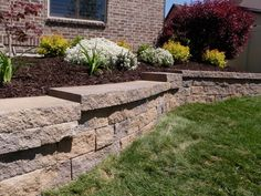 Retaining #Wall built with #Blocks. We can Install one for you! #NorCal #BayArea. More info: http://californiastoneworkandpaversinstallation.com/contact-us/