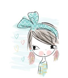 Pretty girl print - copyright of Lizzie Mackay 2013 Art And Illustration, Illustrations, Character Illustration, Cute Characters, Whimsical Art, Doodle Art, Cute Cartoon, Cute Drawings, Cute Wallpapers
