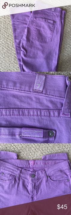 "Like New 7 for all mankind ""the skinny"" Jean s 29 LIKE NEW 7for all mankind "" the skinny"" Jean in lavender. Genuine product!!! size 29 7 For All Mankind Pants Skinny"