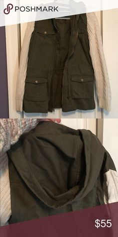 Olive green cargo jacket with sweater sleeves Adorable hooded olive green cargo jacket with cable knit cream colored sleeves. Purchased from ModCloth. Worn once. Perfect condition ModCloth Jackets & Coats