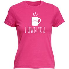 123t Slogan Women's I Own You Smiley Coffee Mug Design Fitted T-Shirt... ($13) ❤ liked on Polyvore featuring tops, t-shirts, black, women's clothing, slim fitted t shirts, slim tee, fitted tee, fitted t shirts and slim fit t shirts
