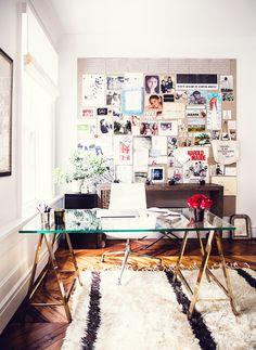 glass desk and moodboard