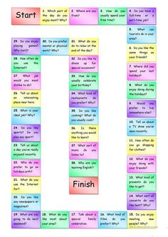 Speaking questions Boardgame - English ESL Worksheets for distance learning and physical classrooms English Words, English Lessons, English Grammar, Teaching English, Learn English, English Language Learners, Games For English Class, English Games, English Activities