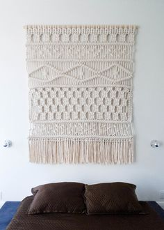 5' x 6'. Cotton Rope. 2013.Custom wall hanging created for a private residence in Brooklyn, New York.