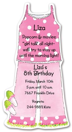 Kids Pajamas / Slumber Party Invitations
