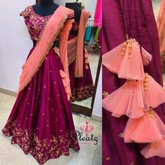 This beauty got finally ready at our studio today. Best Blouse Designs, Half Saree Designs, Sari Blouse Designs, Designer Blouse Patterns, Lehenga Designs, Kurta Patterns, Design Patterns, Kids Party Wear Dresses, Gown Party Wear