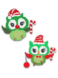 Plastic Canvas - Holiday & Seasonal Patterns - Christmas Patterns - 'Tis the Season Christmas Owls