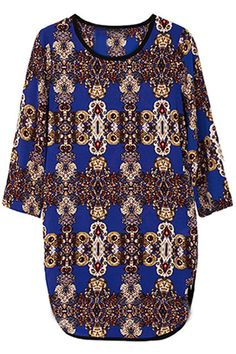 Loose Blue Floral Dress.. add a belt and dr. martin boots