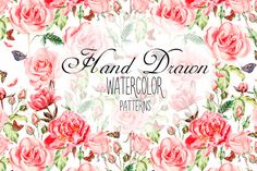Posted by @newkoko2020 Hand Drawn Watercolor PATTERNS by knopazyzy on @creativemarket