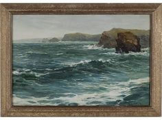 REGINALD SMITH (British, 1855-1925). Watergate Bay Cornwall. Oil on artist board. (I love paintings of rough or stormy seas...no blue skies & palm trees for this girl!)