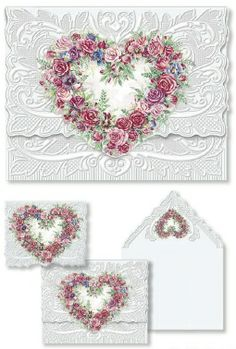 Carol Wilson Stationery Note Card Portfolio Rose Heart Wreath