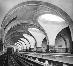 railway station architecture old Moscow Metro - Sokol Station Concrete Architecture, Cultural Architecture, Classic Architecture, Futuristic Architecture, Architecture Details, Interior Architecture, Moscow Metro, Art Deco, U Bahn