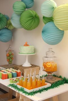 Dinosaur Dessert table styled by A little Polkadot. Cute for Dinosaur Theme baby shower