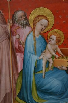 The Adoration of the Magi, Detail of Madonna and Child, from:  The Adoration of the Magi with Saint Anthony Abbot. About 1390-1410. Franco-Flemish Master active in Burgundy. Oil and tempera with gold and silver leaf on panel.    L.A., Getty