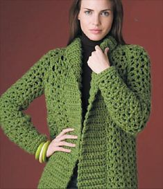 Gorgeous #crochet car coat -- free pattern from Lion Brand Yarn.