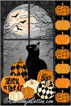"""Great Halloween wall quilt with pieced pumpkin border. Halloween fabric panel wall hanging pattern. Fabric shown in the sample quilt is Northcott Fabrics Black Cat Capers. (Available 2021-05-15)** Finished Size: Wall Hanging 28"""" x 42"""" Skill Level: Advanced Beginner Technique: Pieced Halloween Quilt Patterns, Halloween Borders, Halloween Quilts, Halloween Fabric, Fall Halloween, Halloween Season, Quilt Stitching, Cross Stitching, Quilted Wall Hangings"""