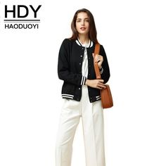 HDY Haoduoyi Fashion Ribbed Jersey Baseball Coat Women Bomber Jacket Color Contrast Single-Breasted Basic Coat Casual Jackets
