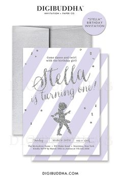 Purple Striped Ballerina Invitations with silver glitter calligraphy scrip and silver glitter confetti. Ballet invites for baby girl first birthday or any age! Personalized invitations with optional silver metallic envelopes, by Digibuddha Invitation + Paper Co.