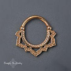 Tribal Septum Ring Gold Septum Lotus Flower Gold Nose by Sagia
