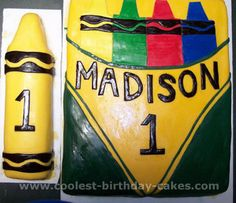 Box of Crayons Cake... individual crayon for the birthday girl/boy to destroy and the box for everyone else