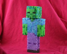 3D Minecraft Zombie Figure Made of Perler Beads on Etsy, $20.00