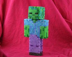 3D Minecraft Zombie perler
