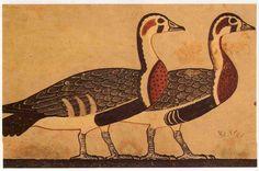 Detalle de Las Ocas de Meidum, tumba de Nefer-Maat y Atet, Meidum. Reino Antiguo, IV Dinastía. El Cairo, Museo Egipcio.  Los animales tienen una apriencia naturalista, formaban parte de una escena más compleja de caza. Se empleó una gran gama de colres brillantes con finas y próximas pinceldas que permiten realizar una gradación y matización de las plumas. Obra maestra de la pintura de todos los tiempos.