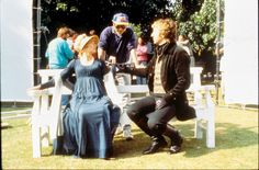 Alan Rickman & Emma Thompson taking direction from Ang Lee on the set of Sense and Sensibility (1995)