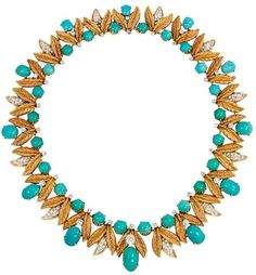 Tiffany & Co. gold, diamond, and turquoise necklace.  United States,  1960.  A gold, turquoise and diamond necklace of tapering foliate design, in 18k. Tiffany & Co. Approximate total weight: 6.42 carats.    Listing via 1stdibs.