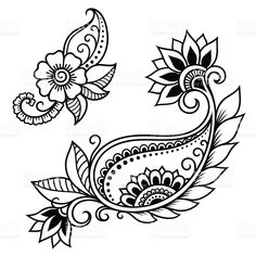 Set of Mehndi flower pattern for Henna drawing and tattoo. Decoration in ethnic oriental, Indian style. Paisley Tattoos, Flower Tattoos, Crewel Embroidery Kits, Embroidery Patterns, Embroidery Thread, Embroidery Supplies, Japanese Embroidery, Estilo Mehndi, Borboleta Diy