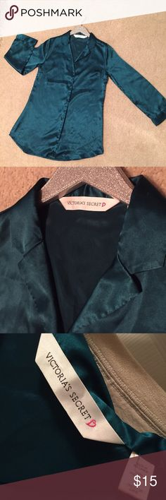 Victoria Secret Shiny Turquoise PJ Top Pretty and shiny turquoise button-down sleep shirt. Says small, but seems to run a bit larger (S/M). Very comfy, great condition! Victoria's Secret Intimates & Sleepwear Pajamas