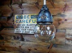 Vintage 30's Benjamin Explosion Proof Industrial Light Fixture Gas Station Barn3