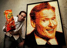 Cheese doodles people. He made this with cheese doodles! (Artist Jaon Baalman's Cheeto's mosaic)