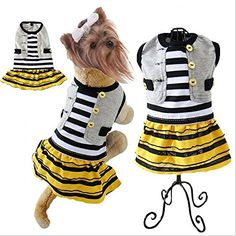 Comfy Striped Pet Dress Casual Holiday Dog Small Coat Dress Shirts Clothes Apparel Small fragrant wind skirt folds *** Check this awesome image  : Cat Apparel