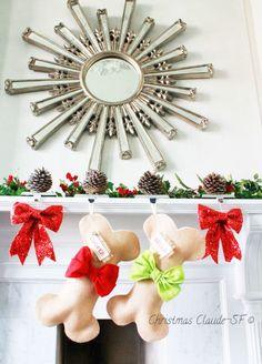 Red Dog Bone Christmas Stocking Unique burlap by ChristmasClaude