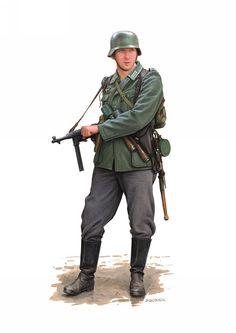 Suboficial de infanteria con un Subfusil MP-40.