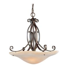 For the music room ceiling:    Scrolled pendant in Corinthian bronze with a beige Etruscan glass bowl.    Product: PendantConstruction Material: