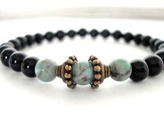 Onyx Meditation Bracelet Onyx Teal Jasper by peaceofminejewelry, $25.00