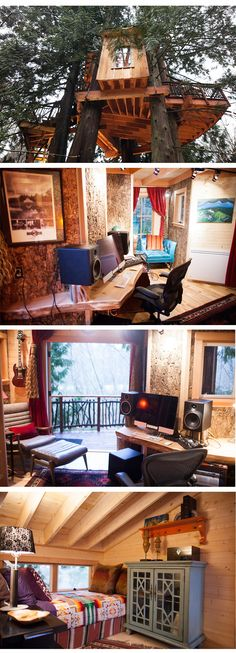 Bear Creek Recording Studio Tree House- this is seriously perfect! Studio Room, Dream Studio, Studio Setup, House Studio, Home Music, Home Studio Music, Dj Music, Ideas Habitaciones, Recording Studio Design